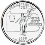 1999 50 State Quarters Coin Pennsylvania Uncirculated Reverse