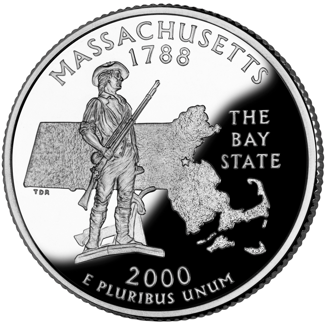2000 50 State Quarters Coin Massachusetts Proof Reverse