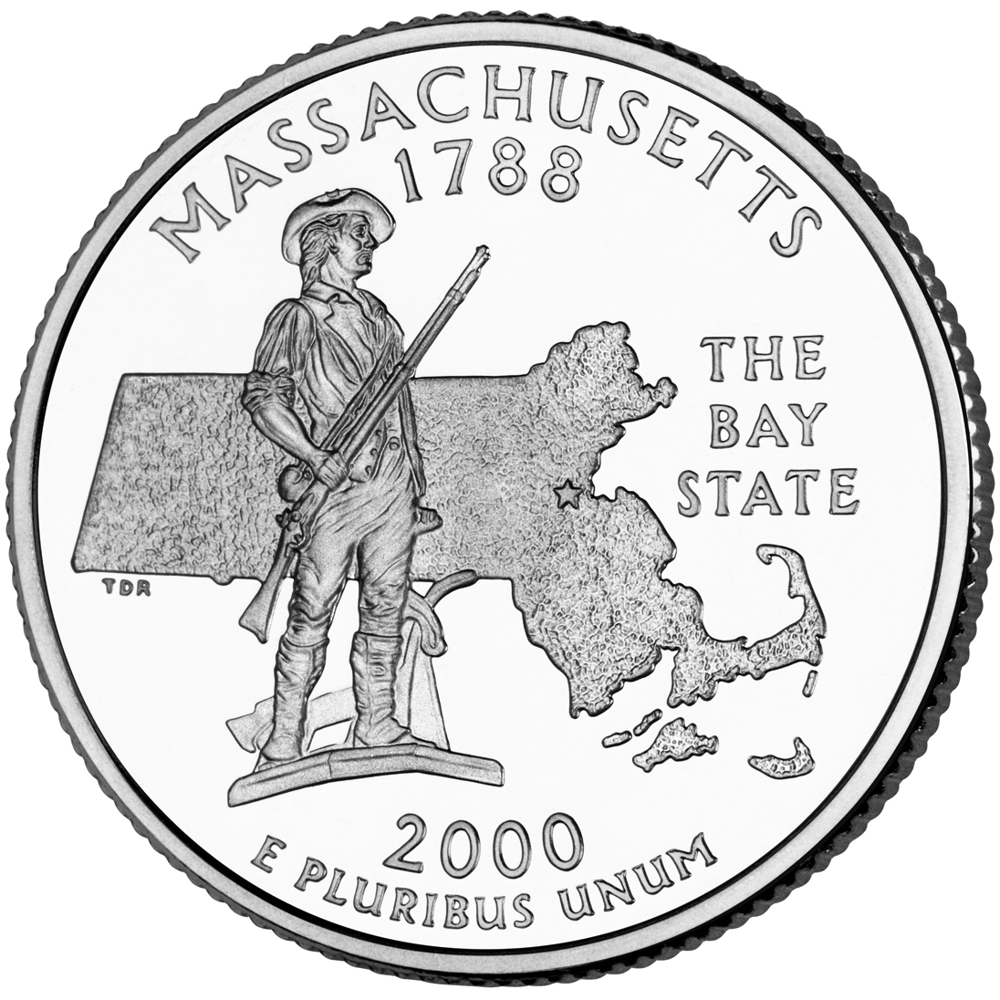 2000 50 State Quarters Coin Massachusetts Uncirculated Reverse
