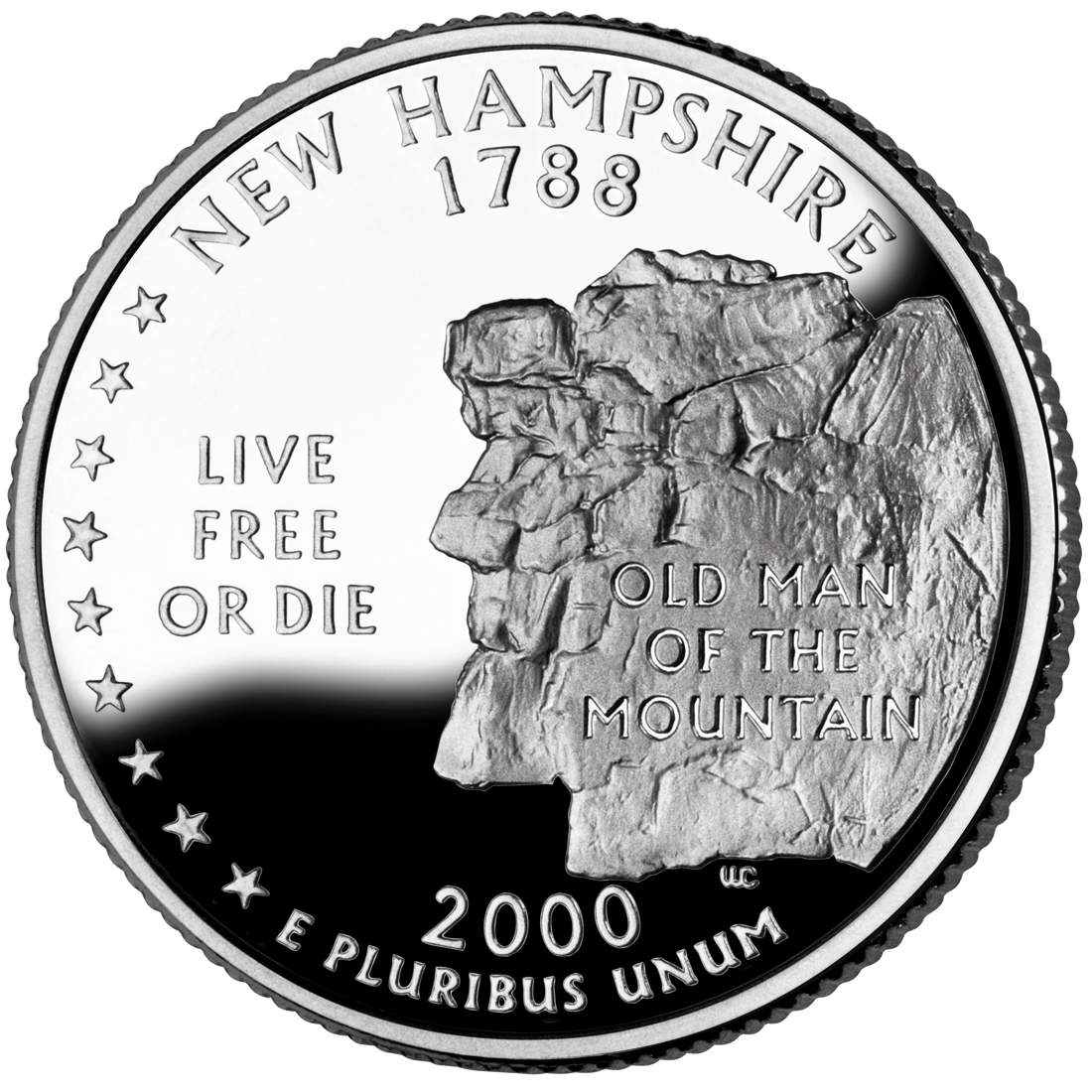 2000 50 State Quarters Coin New Hampshire Proof Reverse