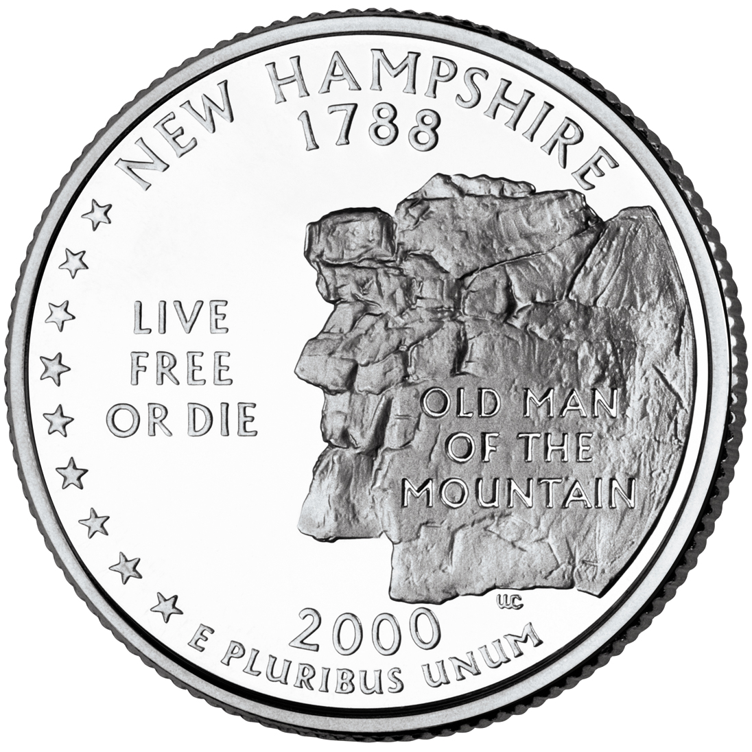2000 50 State Quarters Coin New Hampshire Uncirculated Reverse