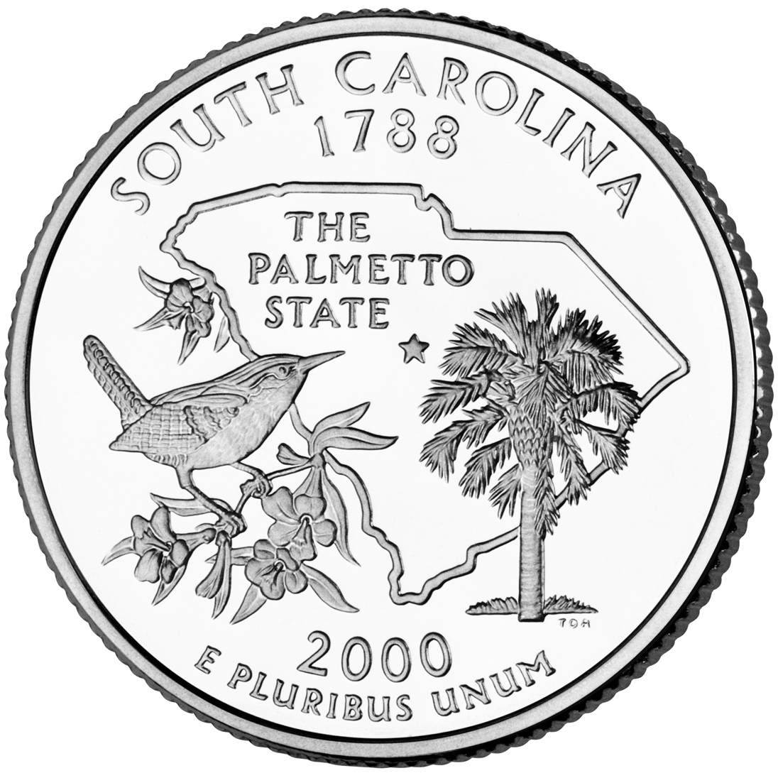 2000 50 State Quarters Coin South Carolina Uncirculated Reverse
