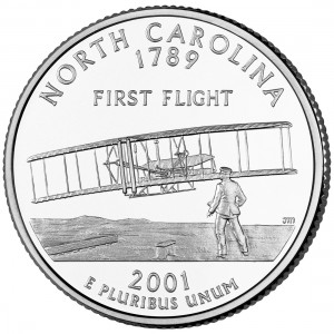 2001 50 State Quarters Coin North Carolina Uncirculated Reverse