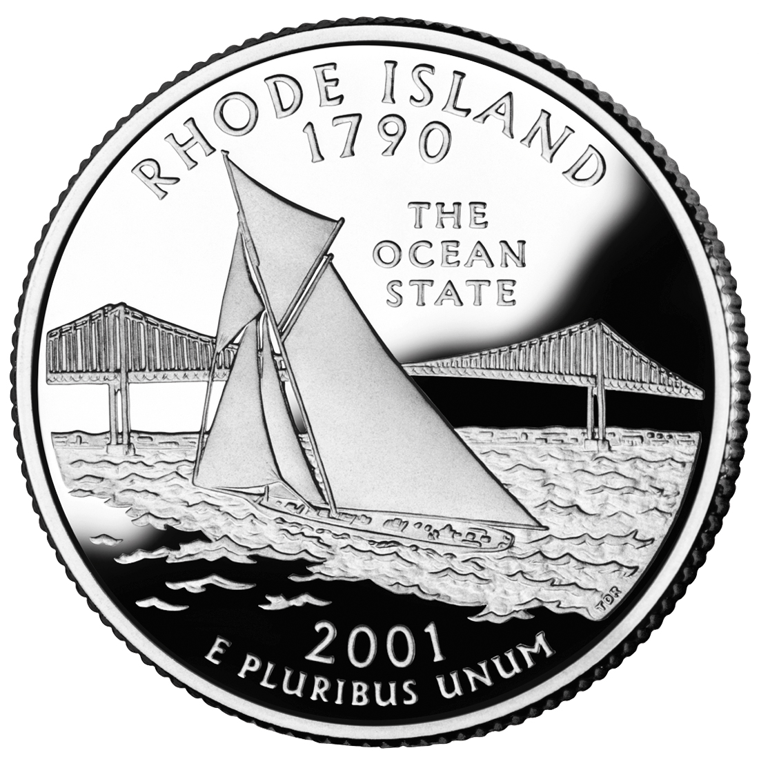 2001 50 State Quarters Coin Rhode Island Proof Reverse