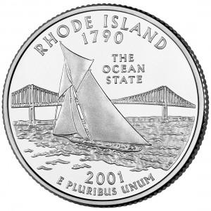 2001 50 State Quarters Coin Rhode Island Uncirculated Reverse