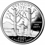 2001 50 State Quarters Coin Vermont Proof Reverse