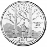 2001 50 State Quarters Coin Vermont Uncirculated Reverse