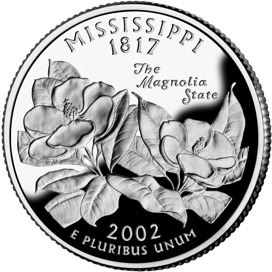 2002 50 State Quarters Coin Mississippi Proof Reverse