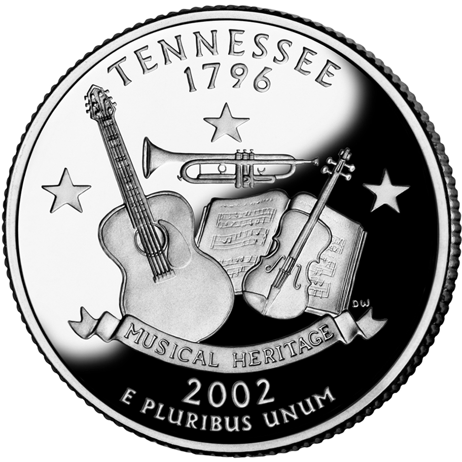 2002 50 State Quarters Coin Tennessee Uncirculated Reverse