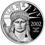 2002 American Eagle Platinum Quarter Ounce Proof Coin Obverse