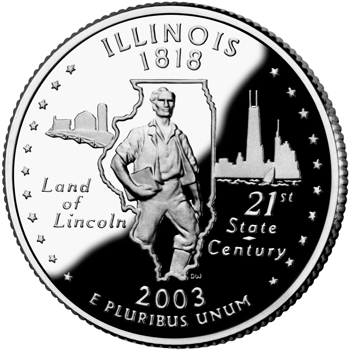 2003 50 State Quarters Coin Illinois Proof Reverse