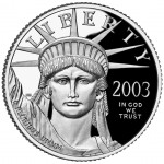 2003 American Eagle Platinum Quarter Ounce Proof Coin Obverse