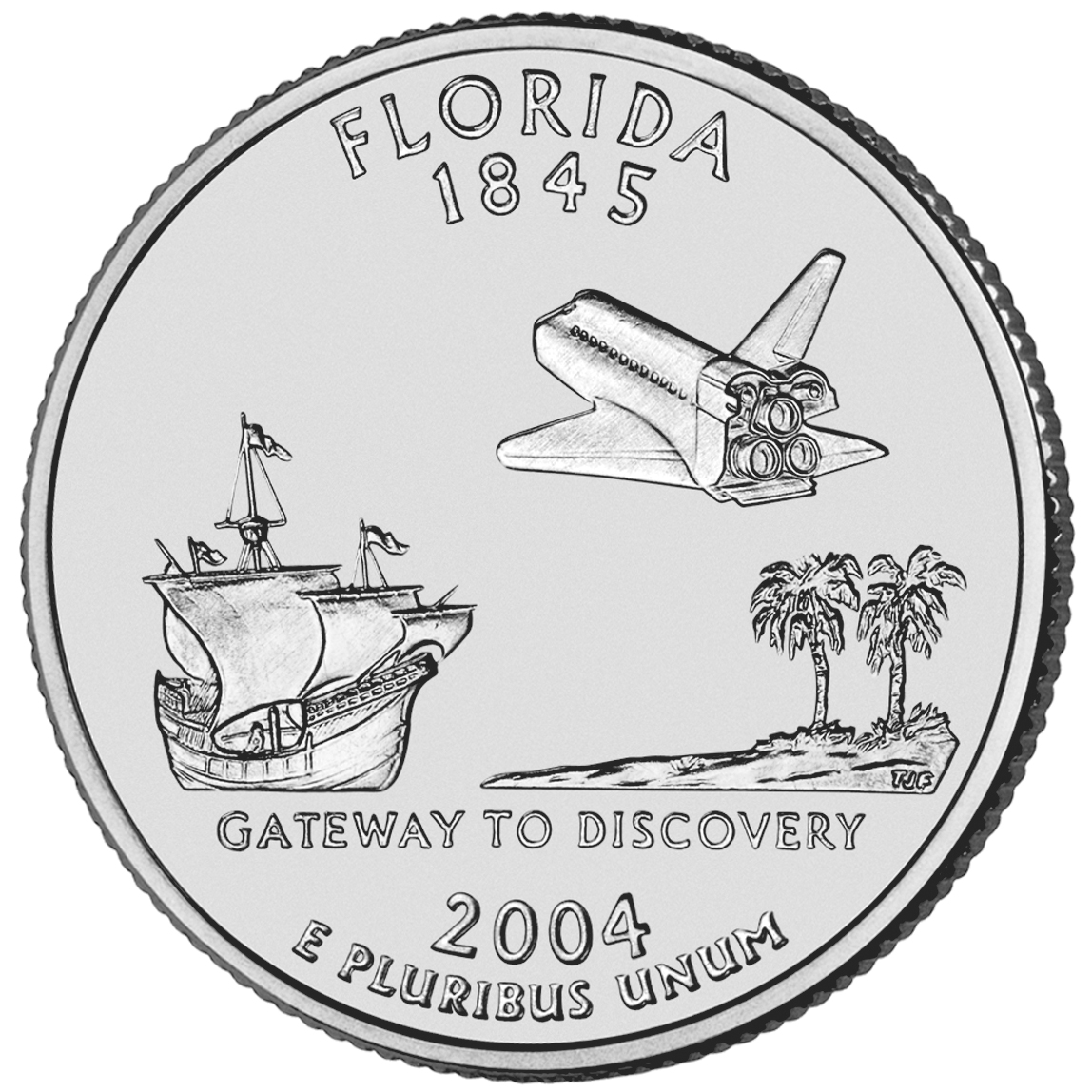 The Florida quarter was one of two coins to act as spin balance weights for the New Horizons spacecraft.