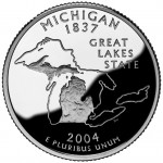 2004 50 State Quarters Coin Michigan Proof Reverse