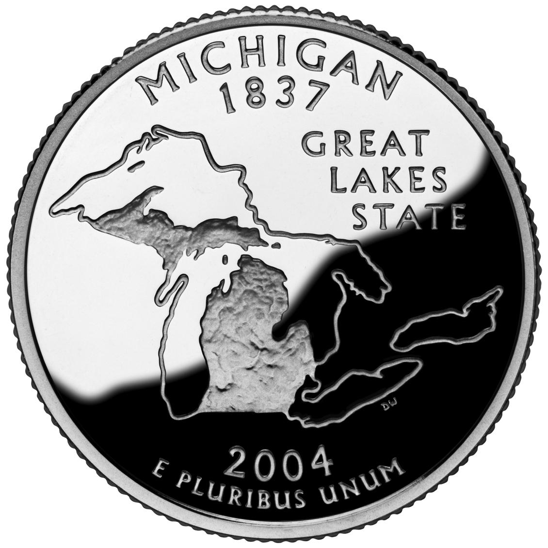 2004 50 State Quarters Coin Michigan Proof Reverse
