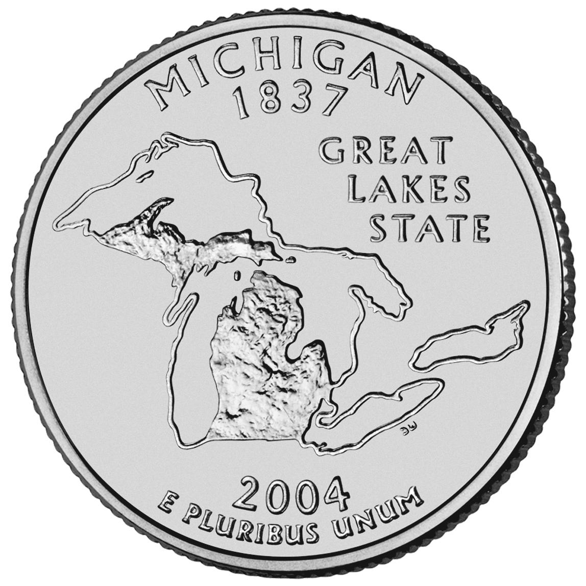 2004 50 State Quarters Coin Michigan Uncirculated Reverse