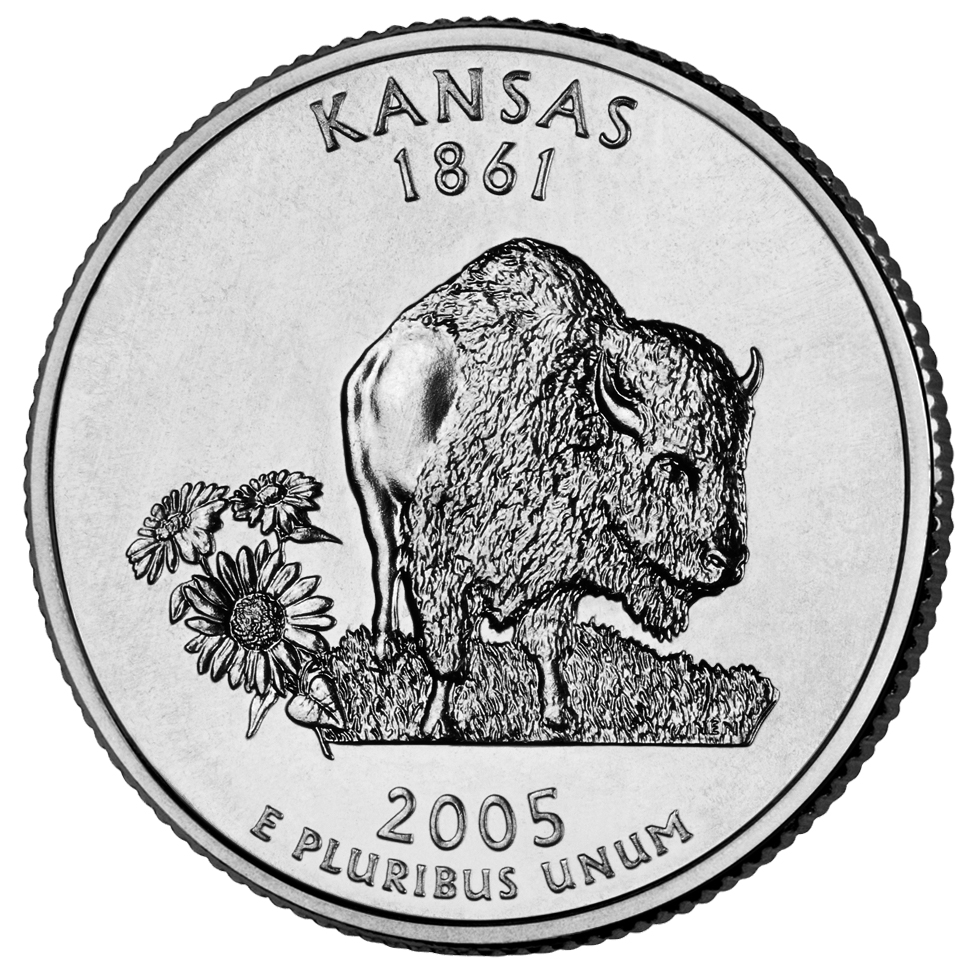 2005 50 State Quarters Coin Kansas Uncirculated Reverse