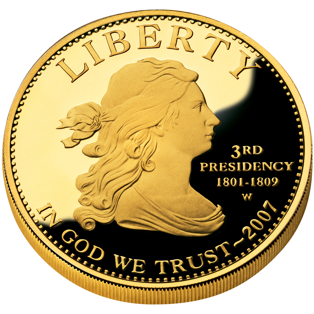 2007 First Spouse Gold Coin Jefferson Liberty Proof Obverse