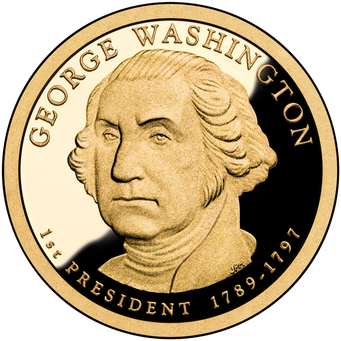 2007 Presidential Dollar Coin George Washington Proof Obverse