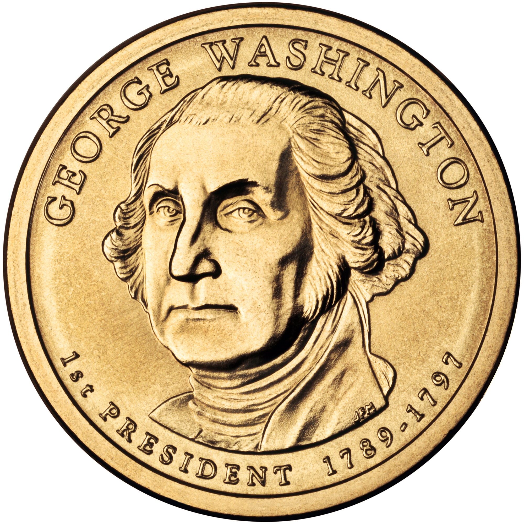 2007 Presidential Dollar Coin George Washington Uncirculated Obverse