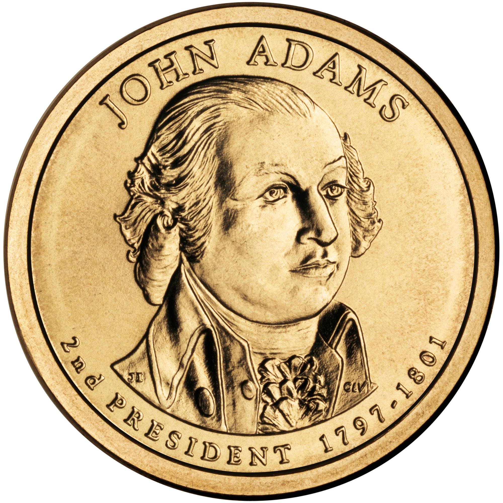 2007 Presidential Dollar Coin John Adams Uncirculated Obverse