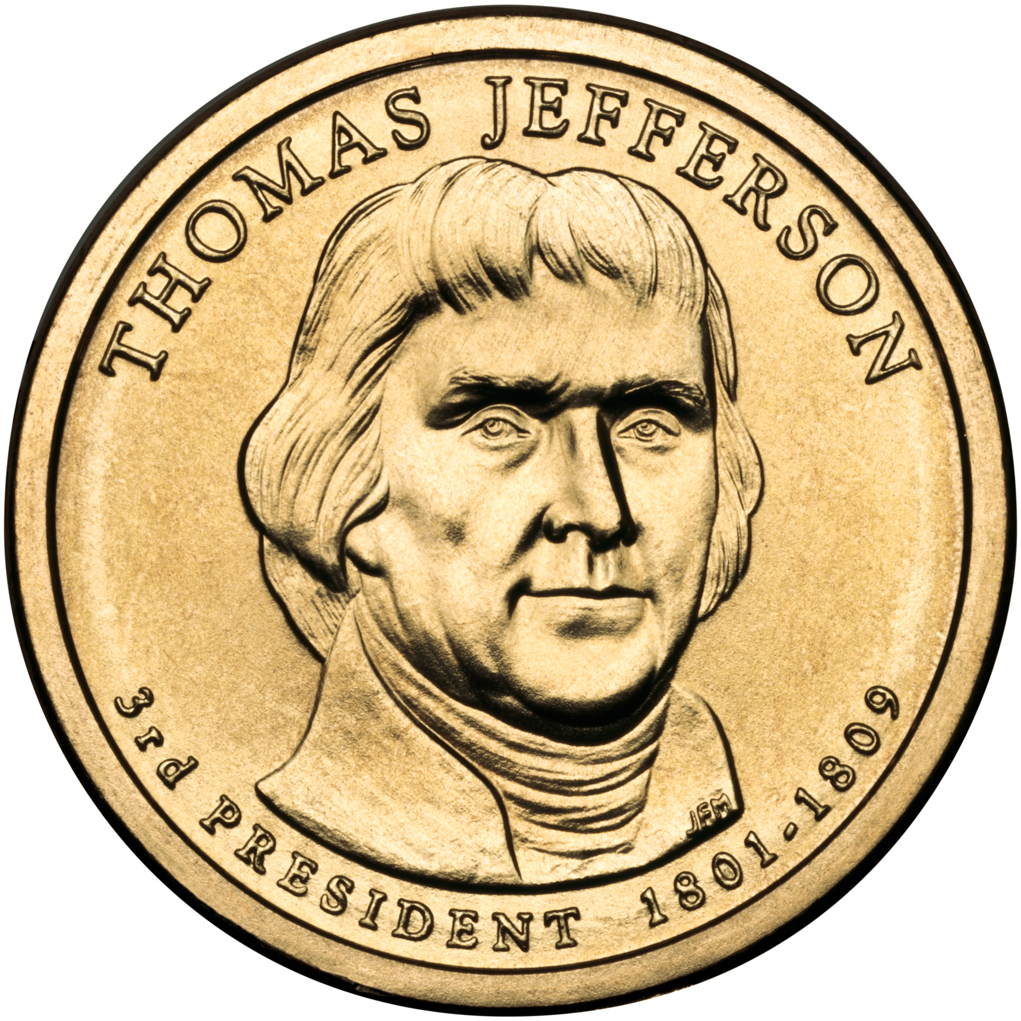 2007 Presidential Dollar Coin Thomas Jefferson Uncirculated Obverse