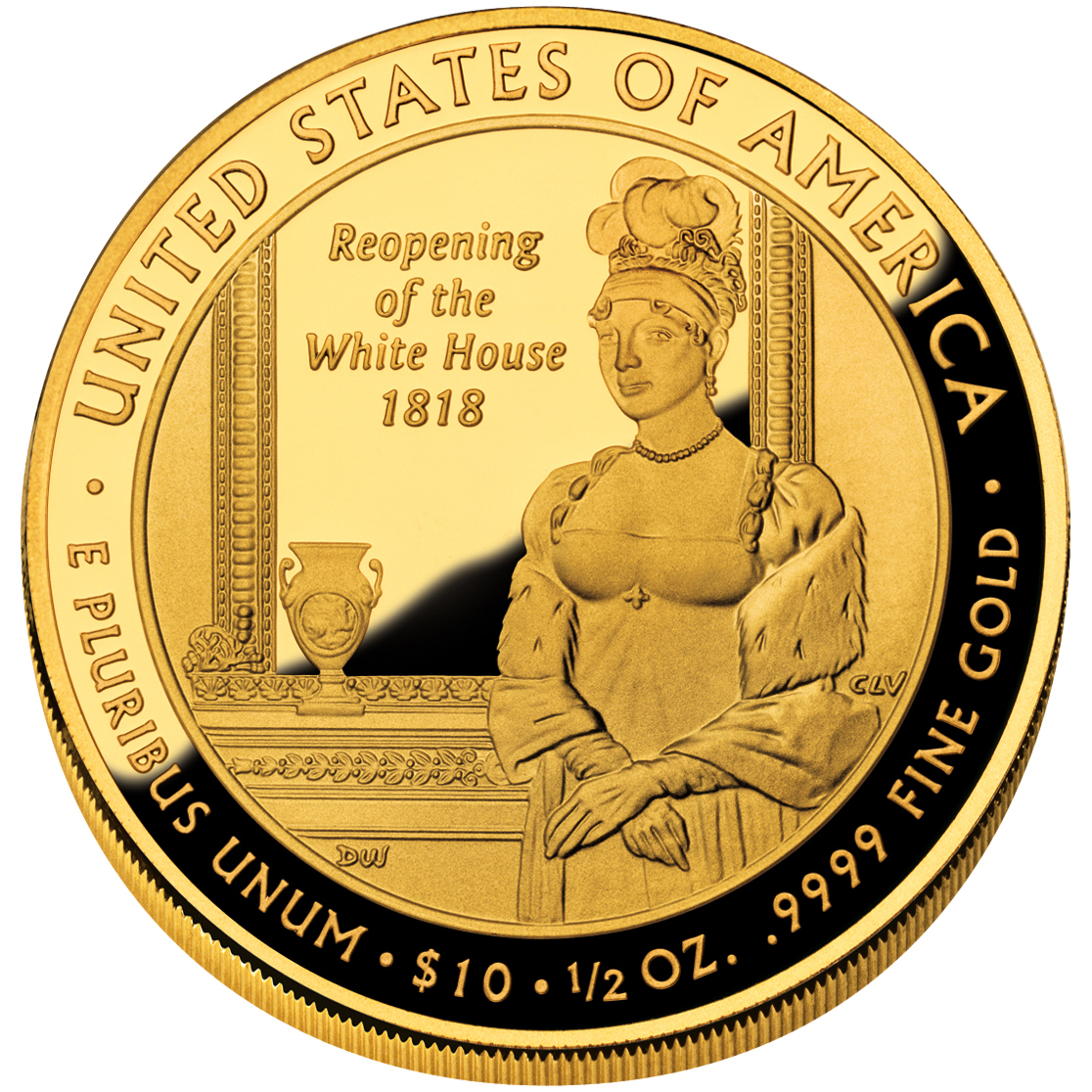 2008 First Spouse Gold Coin Elizabeth Monroe Proof Reverse