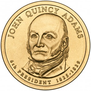 2008 Presidential Dollar Coin John Quincy Adams Uncirculated Obverse