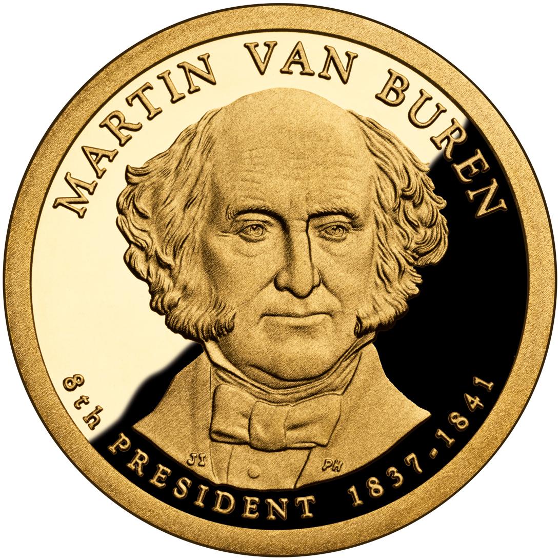 2008 Presidential Dollar Coin Martin Van Buren Proof Obverse