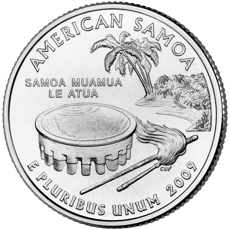 2009 DC US Territories Quarters Coin American Samoa Uncirculated Reverse