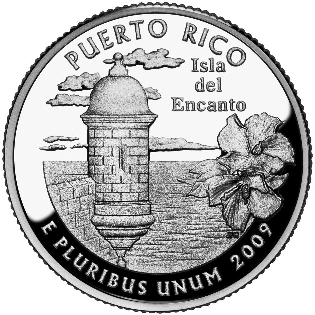 2009 DC US Territories Quarters Coin Puerto Rico Proof Reverse