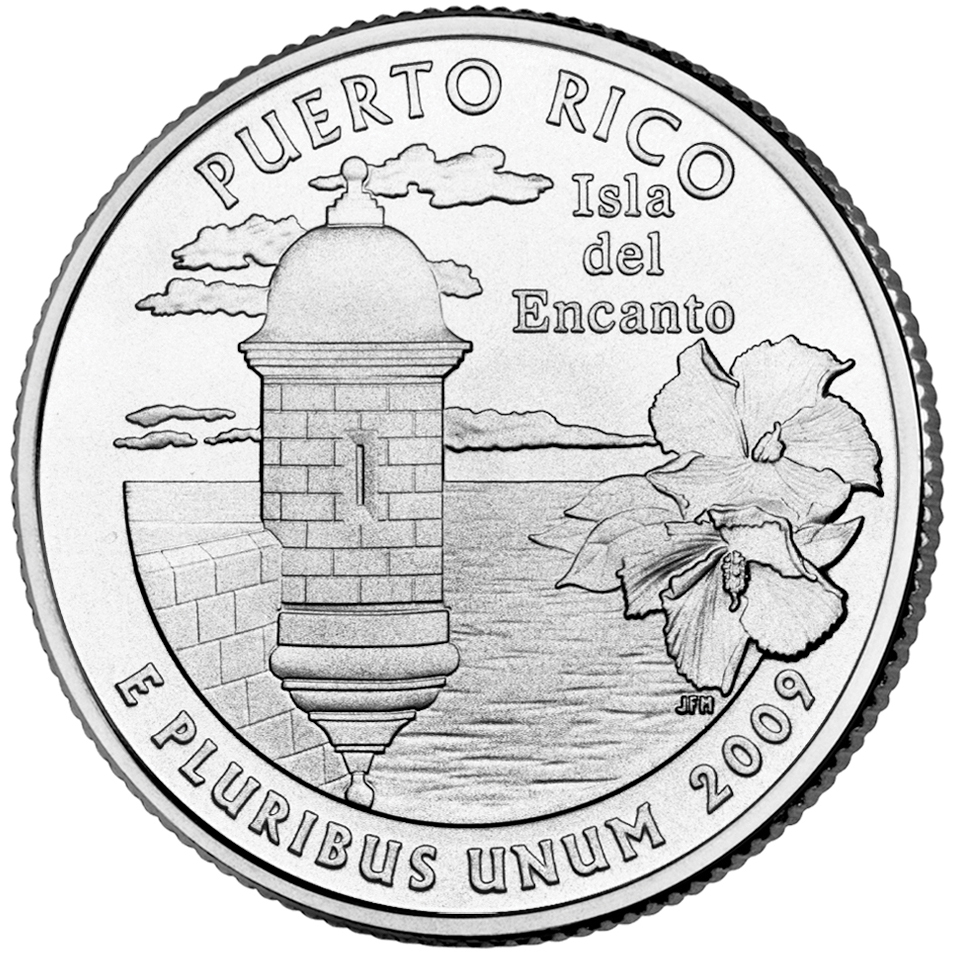 2009 DC US Territories Quarters Coin Puerto Rico Uncirculated Reverse