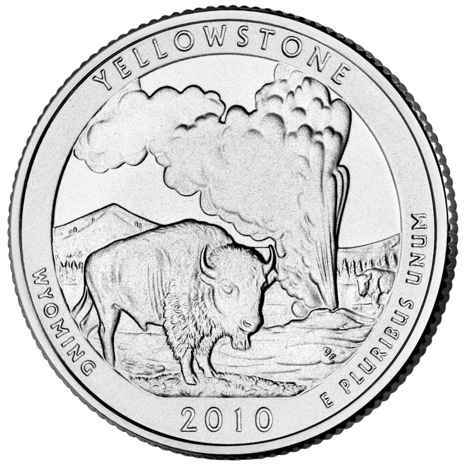 2010 America The Beautiful Quarters Coin Yellowstone Wyoming Uncirculated Reverse