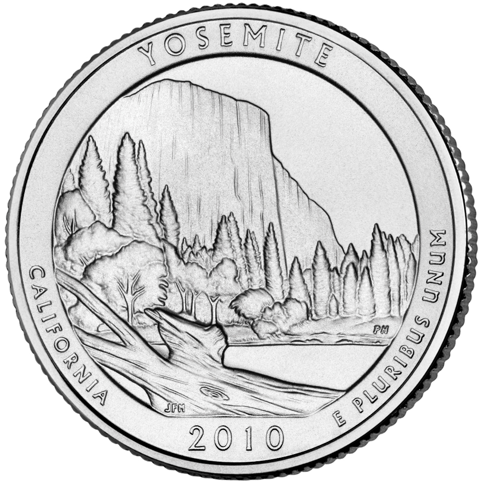 2010 America The Beautiful Quarters Coin Yosemite California Uncirculated Reverse