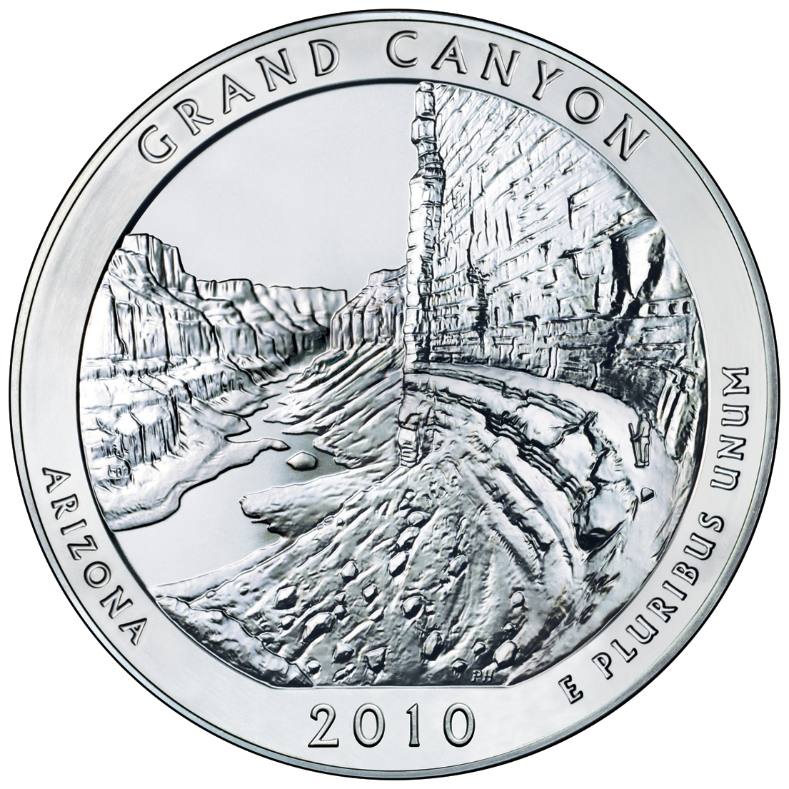 2010 America The Beautiful Quarters Five Ounce Silver Bullion Coin Grand Canyon Arizona Reverse