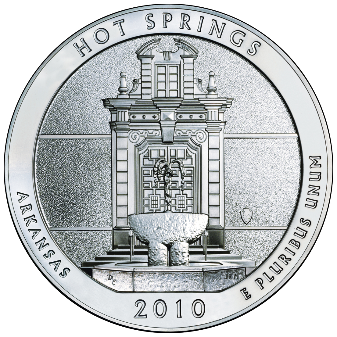 2010 America The Beautiful Quarters Five Ounce Silver Bullion Coin Hot Springs Arkansas Reverse