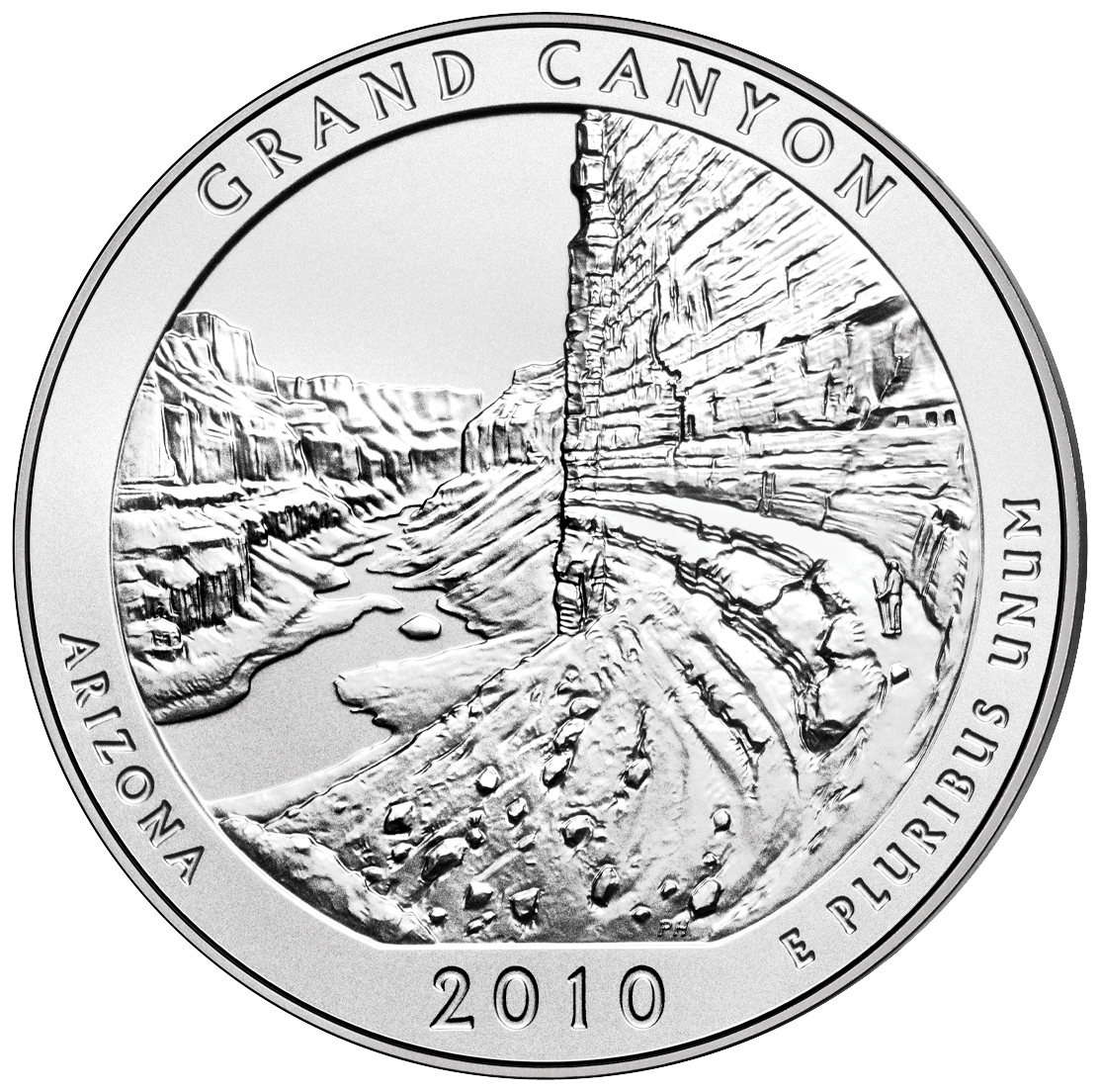 2010 America The Beautiful Quarters Five Ounce Silver Uncirculated Coin Grand Canyon Arizona Reverse