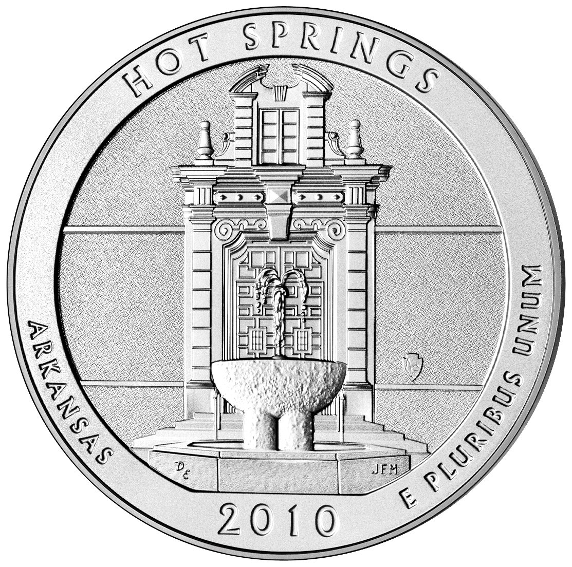 2010 America The Beautiful Quarters Five Ounce Silver Uncirculated Coin Hot Springs Arkansas Reverse