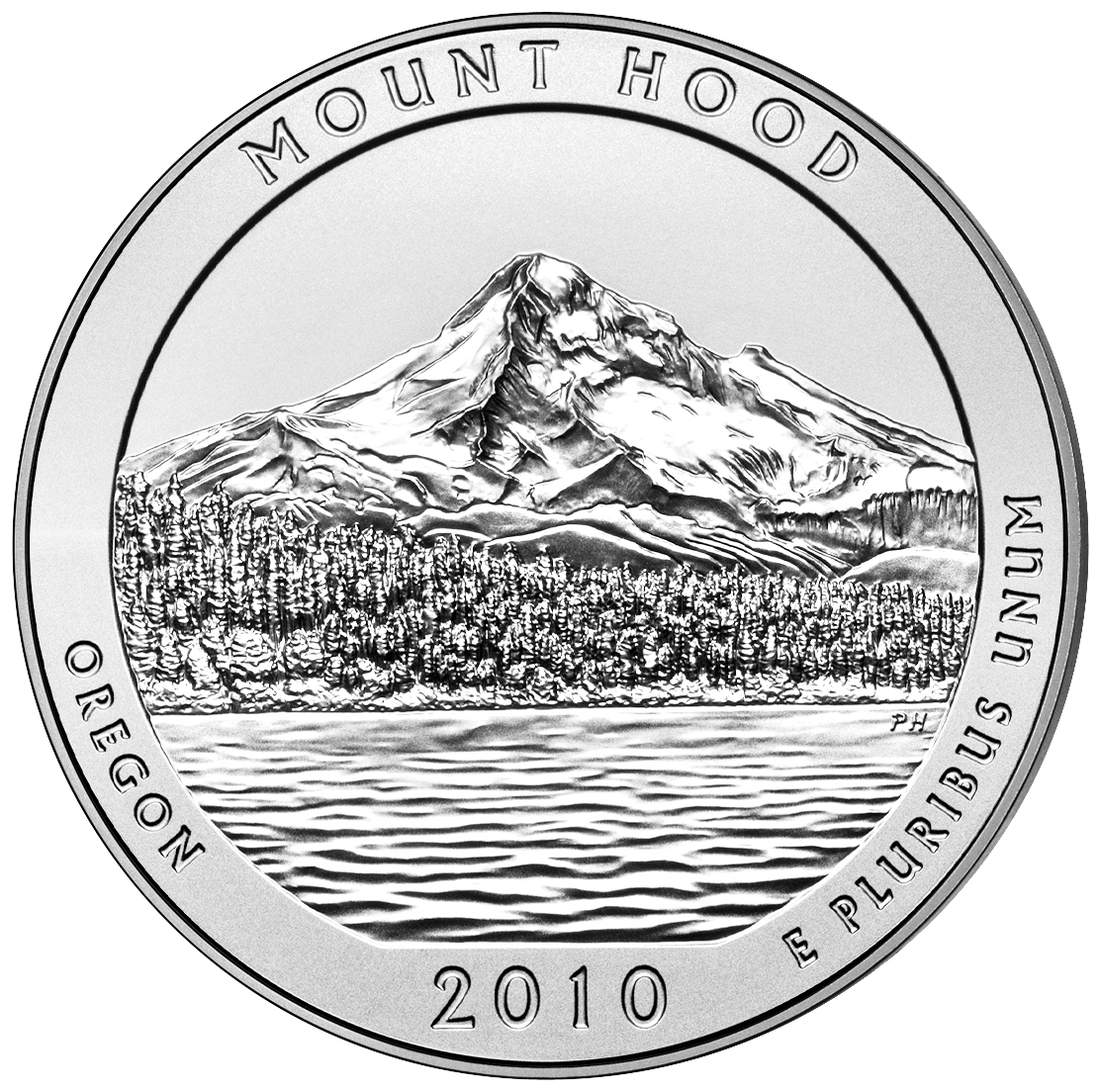 2010 America The Beautiful Quarters Five Ounce Silver Uncirculated Coin Mount Hood Oregon Reverse