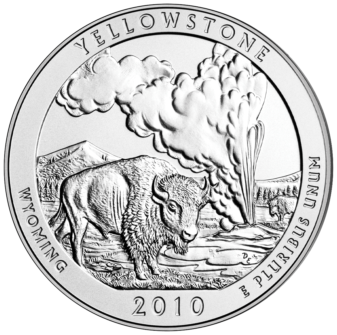 2010 America The Beautiful Quarters Five Ounce Silver Uncirculated Coin Yellowstone Wyoming Reverse
