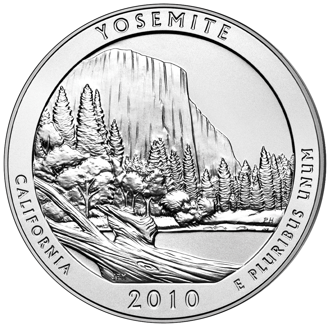 2010 America The Beautiful Quarters Five Ounce Silver Uncirculated Coin Yosemite California Reverse