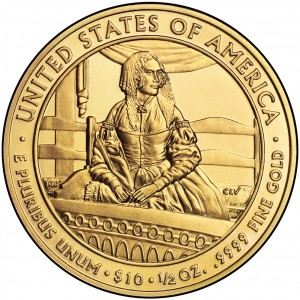 2010 First Spouse Gold Coin Jane Pierce Uncirculated Reverse