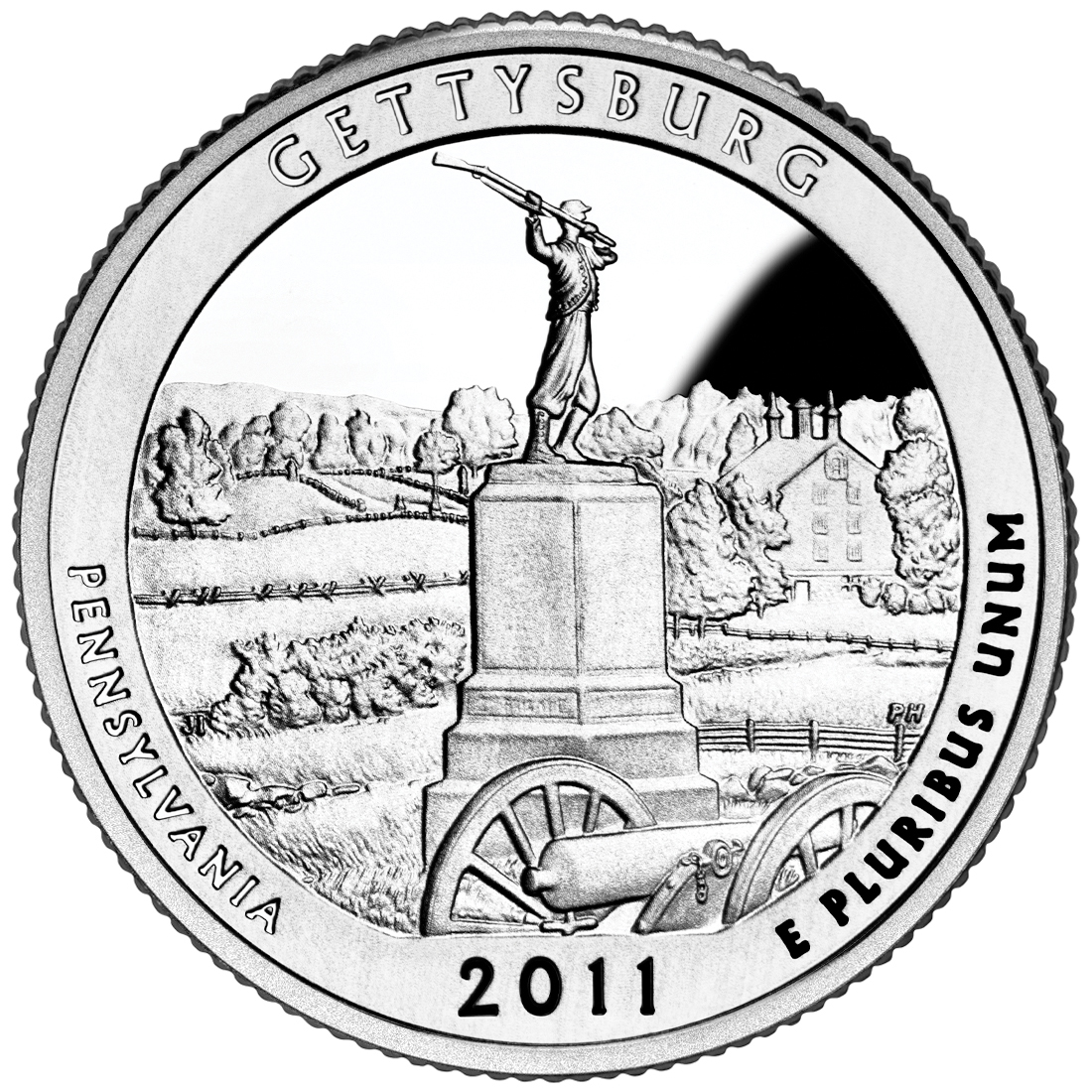 2011 America The Beautiful Quarters Coin Gettysburg Pennsylvania Proof Reverse