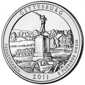 2011 America The Beautiful Quarters Coin Gettysburg Pennsylvania Uncirculated Reverse