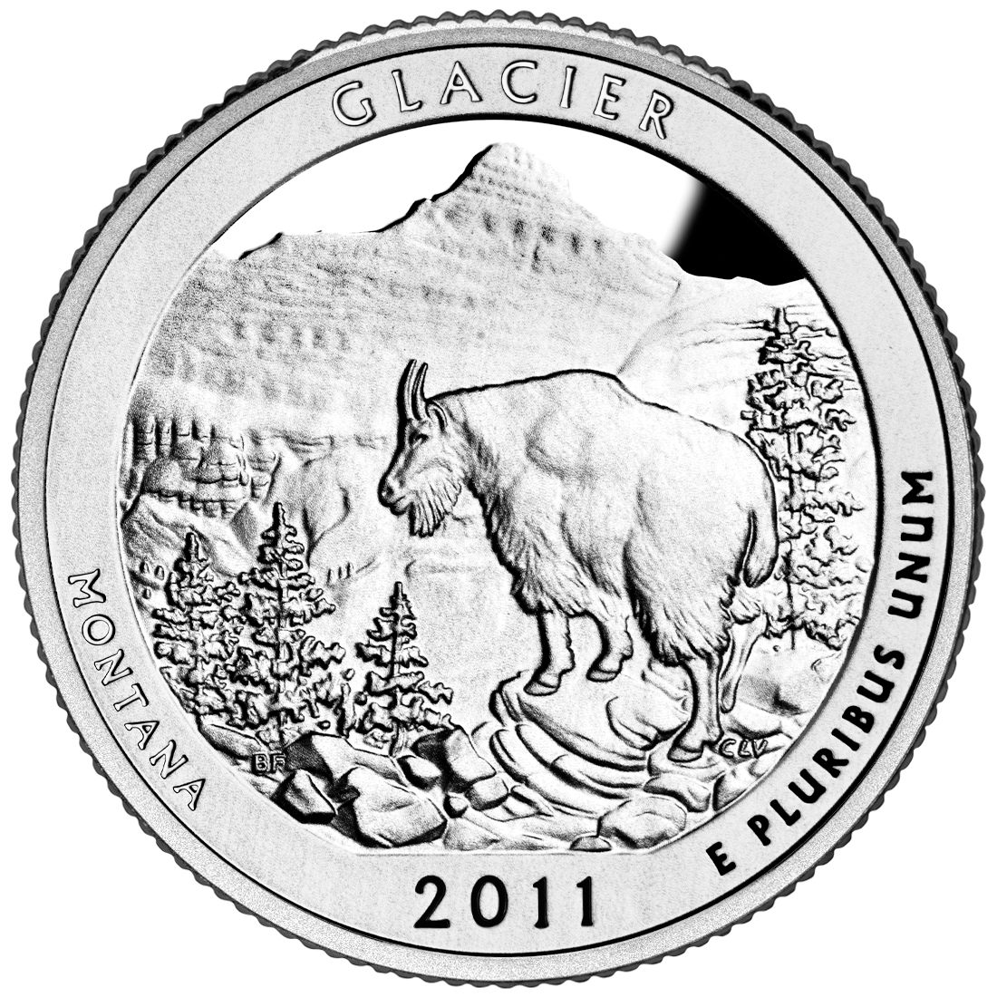 2011 America The Beautiful Quarters Coin Glacier Montana Proof Reverse