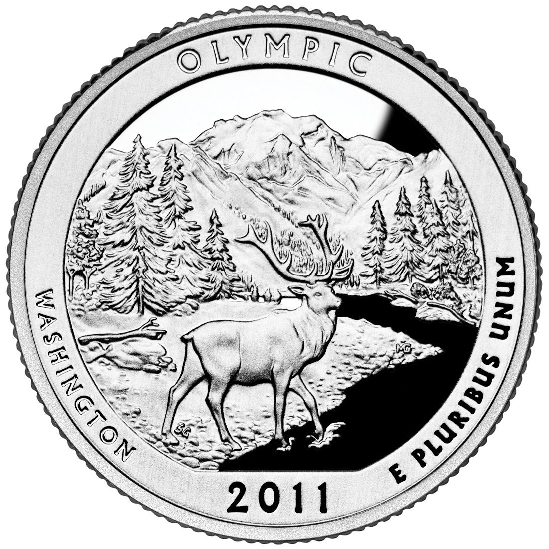 2011 America The Beautiful Quarters Coin Olympic Washington Proof Reverse
