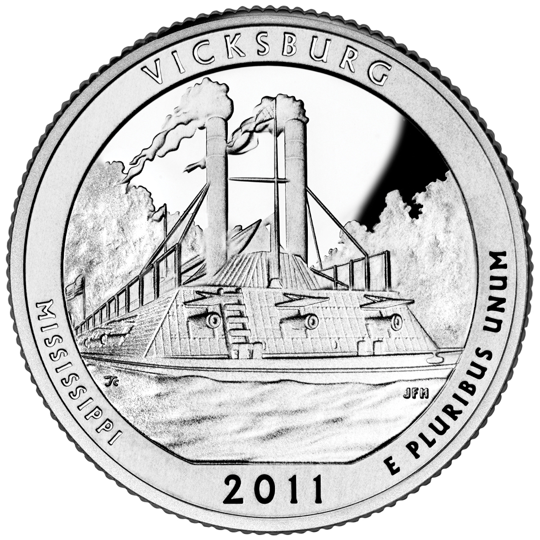 2011 America The Beautiful Quarters Coin Vicksburg Mississippi Proof Reverse