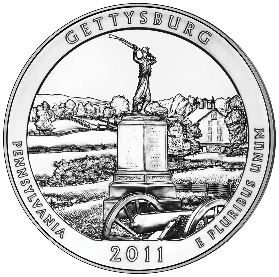 2011 America The Beautiful Quarters Five Ounce Silver Bullion Coin Gettysburg Pennsylvania Reverse