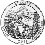 2011 America The Beautiful Quarters Five Ounce Silver Bullion Coin Glacier Wyoming Reverse