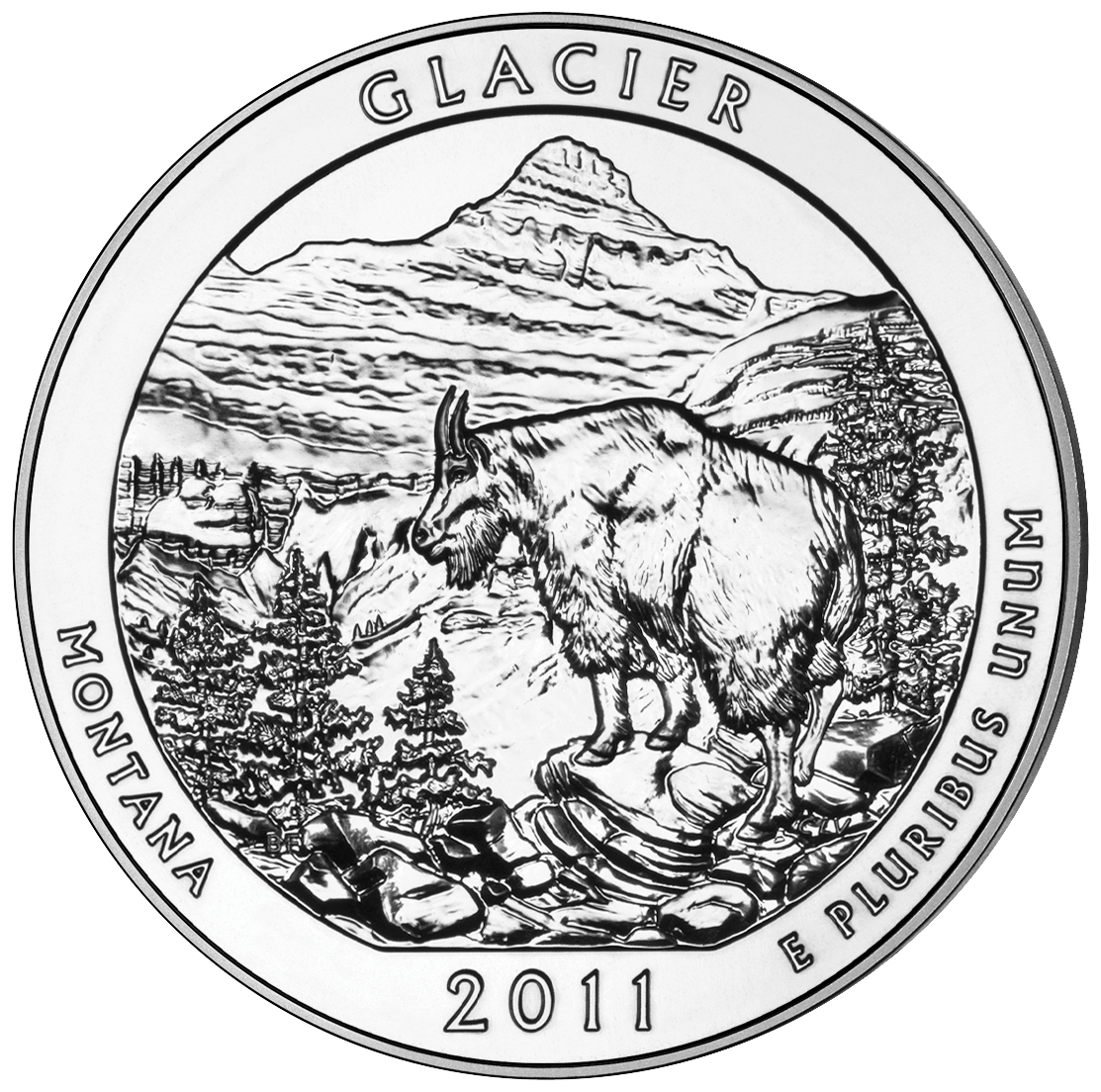 2011 America The Beautiful Quarters Five Ounce Silver Bullion Coin Glacier Montana Reverse